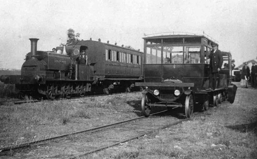 The rail cars were based on Ford-T chassis and ran on the Kent and Sussex Railway